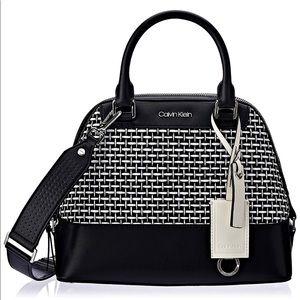 Calvin Klein Clara Stucco Leather Key Dome Satchel